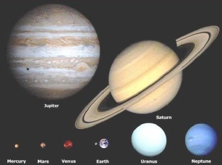 the earth and large planets