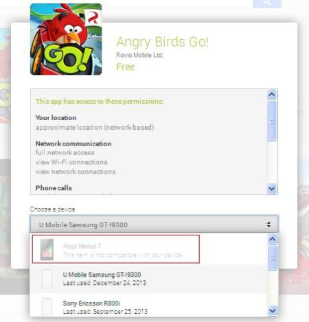 Nexus 7 incompatible with Angry Birds Go solution